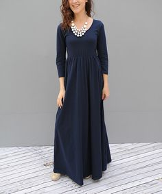 Another great find on #zulily! Navy Pleated Maxi Dress #zulilyfinds