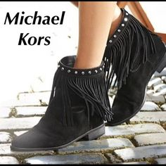 Michael Kors Fringe Booties Black MK fringe bootie with silver studs Michael Kors Shoes Ankle Boots & Booties