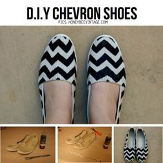 DIY Chevron Shoes from HoneyBeeVintage