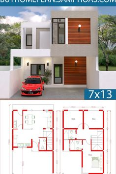 House design Plan with 3 Bedrooms. The House has: Car Parking small garden -Living room, -Dining room, -Kitchen, Little House Plans, Dream House Plans, Small House Plans, Dream Houses, Modern Small House Design, Simple House Design, 2 Storey House Design, Duplex House Design, House Construction Plan