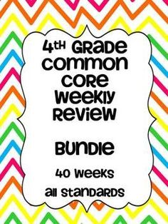 40 weeks of weekly review for 4th grade common core math standards. Answers keys included.