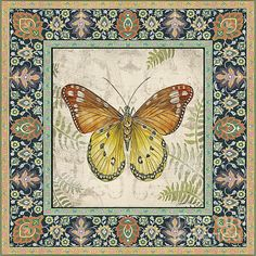Vintage Tapestry Butterfly-b Art Print by Jean Plout. All prints are professionally printed, packaged, and shipped within 3 - 4 business days. Choose from multiple sizes and hundreds of frame and mat options. Butterfly Artwork, Butterfly Pictures, Butterfly Painting, Decoupage Vintage, Decoupage Paper, Vintage Labels, Vintage Ephemera, Art Papillon, Vintage Butterfly