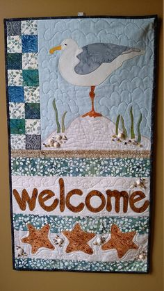Appliquéd and Quilted Welcome Sign Beach Theme Embellished Beach Themed Quilts, Etsy Quilts, Nautical Quilt, Landscape Art Quilts, Beach Quilt, Mini Quilts, Small Quilts, Fish Quilt, Quilt Patterns