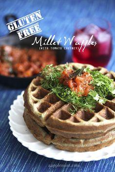 Gluten Free Millet Waffles with Tomato Chutney