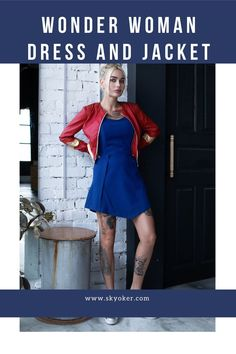 Set: Wonder Woman blue skater dress and red leather jacket inspired by DC Superhero Girl Clothing Dc Superhero Girl, Dc Clothing, Girl Outfits, Casual Outfits, Deep Blue, Skater Dress, Leather Jacket, Wonder Woman, Store