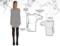 Tutorial and sewing pattern to create a slouch mini dress in jersey featuring long batwing sleeves and a neckline finished with a binding. Easy and quick to sew! Our format is adapted for home printers so you can quickly start sewing. Once the purchase completed, a link is provided to download the PDF file, which contains both tutorial and pattern. Seam and hem allowances included.  DR305 – DRESS Sizes: XS-S-M-L-XL Length: 89cm (35) Difficulty level: Easy  Trims: All-purpose thread Textured…