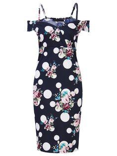 Sale 21% (25.89$) - Sexy Off Shoulder Floral Strap Party Pencil Bodycorn Women Dress