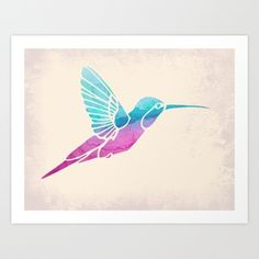 Watercolor Hummingbird Art Print by Jacqueline Maldonado