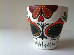 Day of the Dead sugar skull Flower Pot Planter by GingerPots, $12.00