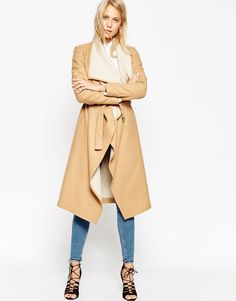 Image 4 ofASOS PETITE Coat With Waterfall Front And Belt