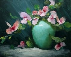 'Orchids in Green', painting by artist Justin Clements