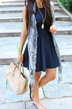 Navy fit & flare dress with a printed scarf