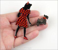 Erstwilder Pin Brooch Deco Girl Dog Walking Wonders Black Red Model