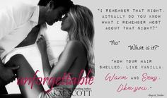 Gage and Jordan from The Heart of Stone series in their spinoff novel, Unforgettable