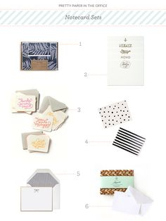 Pretty Paper in the Office: Note Card Sets | 1. SuzyJack; 2. Anchor Paper Co.; 3. Moglea via Anthropologie; 4. Rocket Ink via LEIF; 5. Sugar Paper; 6. Sideshow Press | Click through for full links and resources!