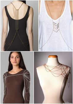 DIY Inspiration. Body Chains/Body Armour. Lots more photos at link. Bottom right Nina's Spiderweb Body Jewelry from Project Accessory. Photo from here: http://www.tomandlorenzo.com/2011/12/pa-raid-on-the-red-carpet.html