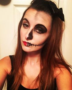 half sugar skull face paint makeup easy halloween costume