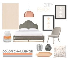 """Color Challenge: Gray & Peach"" by mariannamic ❤ liked on Polyvore featuring interior, interiors, interior design, home, home decor, interior decorating, Americanflat, Normann Copenhagen, Kartell and HAY"