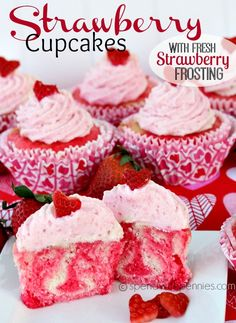 Strawberry Cupcakes with Fresh Strawberry Frosting!  Delicious! <3