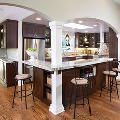 open concept with load bearing pillars. Use this to replace intersecting load bearing walls.
