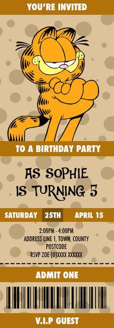 Garfield Birthday Invitation designed by me at Nics Designs.