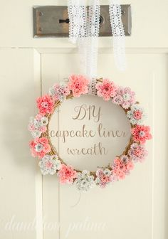 Cupcake liners aren't just for cupcakes. Create this lovely farmhouse style wreath for your front door or make a few with the kiddos and use them as dress up play tiaras! Get the DIY tutorial at dandelionpatina.com