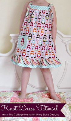 Easy Knot Dress Free Pattern and Tutorial - The Cottage Mama...This Easy Knot Dress tutorial is an adaptation of my free pattern, the 'Summer Picnic Dress'. This dress comes together in an afternoon and is age appropriate for itty bitty girls and a little bit older girls as well. The free pattern is offered in size 12m – Size 4, but can easily be sized up or down by adjusting the chest width and dress length.