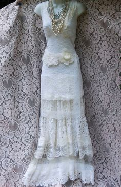 Ivory mermaid dress wedding beaded tiered lace vintage tulle bride outdoor  romantic medium large by vintage opulence on Etsy
