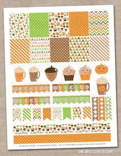 Happy Fall Printable Planner Stickers Instant Download Sticker PDF