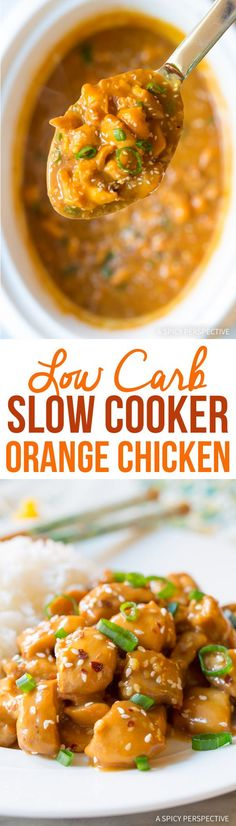 Low Carb Slow Cooker Orange Chicken #healthy #glutenfree