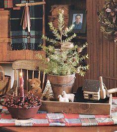 tiny Christmas tree table decor