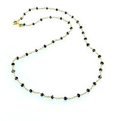 """18K GOLD DIAMOND UNCUT DRUSY BEADS Necklace Black 16"""" from New World Gems"""