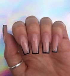 TheGlitterNail Get inspired! on Glossy Nude with Black Tips on tapered Square Nails Nail Artist: joelyoceannails her for more gorgeous nail art Aycrlic Nails, Glam Nails, Classy Nails, Manicures, 80s Nails, Trendy Nails, Best Acrylic Nails, Summer Acrylic Nails, Long Square Acrylic Nails