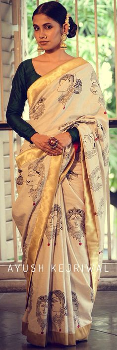 Saree by Ayush Kejriwal For purchases email me at… Kerala Saree, Indian Sarees, Indian Attire, Indian Wear, Ethnic Fashion, Indian Fashion, Indian Dresses, Indian Outfits, Kalamkari Saree