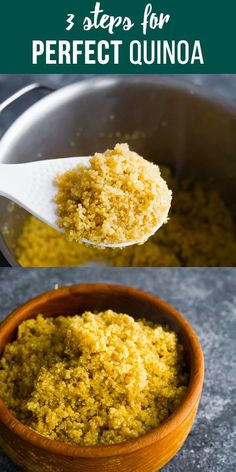 How to cook quinoa and get it perfect and fluffy every time! Sharing three important steps for perfect quinoa, and how to store it. via Correct Tips on Howto Cook Quinoa Cooking Light Recipes, Gourmet Recipes, Healthy Recipes, Side Dish Recipes, Easy Dinner Recipes, Easy Meals, Side Dishes, Cheap Meals, Perfect Quinoa