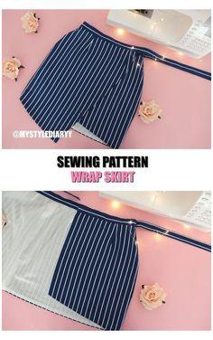 Skirt Patterns Sewing, Clothing Patterns, Skirt Sewing, Pattern Sewing, Pattern Skirt, Wrap Pattern, Fashion Sewing, Diy Fashion, Ideias Fashion