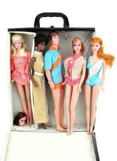 Vintage 1968 Talking Barbies Dolls In Case Stacy PJ Julia Ken Some Wrist Tags