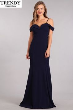 0c18bc5c4a13 Fiesta Fashion 100 2018 Arrival Long Dress. Navy Blue Prom DressesBridesmaid  ...