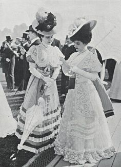 Gorgeous Edwardian dresses, hats and parasols, Belle epoque fashion. Edwardian Era Fashion, Edwardian Clothing, Edwardian Dress, 1900s Fashion, Vintage Fashion, Edwardian Style, Women's Fashion, Fashion Quotes, Victorian Era