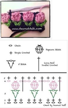 "tulp haaksteekje - tulip crochet stitch (Bees and Appletrees) this is a crochet diagram for the - tulip crochet stitch crocrochet: ""Crochet flower bud, chart by Debi "" Deze is wel heel erg leuk! A Collection of Crochet Flower Stitch Free Patterns: cro Crochet Symbols, Crochet Motifs, Crochet Borders, Crochet Flower Patterns, Crochet Diagram, Crochet Stitches Patterns, Crochet Chart, Crochet Designs, Crochet Flowers"