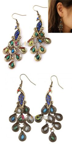 New Pair Cute Colorful Women's Retro Blue Prancing Peacock Earrings Hook Clips -- BuyinCoins.com