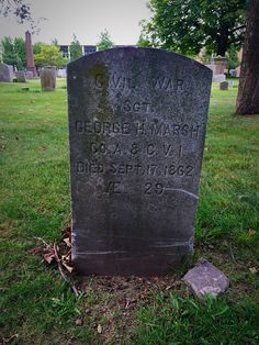 Grave of George Marsh in Old North Cemetery in Hartord. Marsh, a sergeant in the Connecticut, was killed around sunrise by the concussion of an artillery shell at Antietam. Connecticut, Cemetery, Genealogy, Soldiers, American History, Sunrise, Shell, War, People
