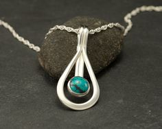 Turquoise Pendant- Sterling Silver Pendant -Silver Necklace with Turquoise- Blue Stone Necklace- Sterling Silver Jewelry Handmade via Etsy