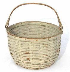 late 19thC New England orig white painted swing handled splint woven basket.