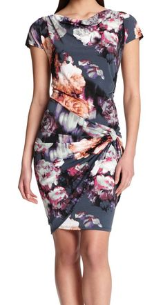The perfect dress for…drinks and apps. | Robert Rodriguez floral drape dress