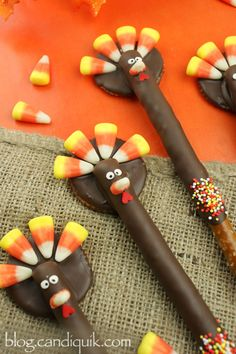 Turkey Pretzels----CUTE!! Ingredients 1 (16 oz.) package Chocolate CANDIQUIK Candy Coating Ritz crackers 1 bag candy corn Pretzel rods Heart sprinkles confetti sprink...