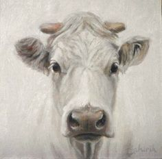 """Blanca ~ otherwise known as White cow in a Snowstorm"" - Original Fine Art for Sale - © Tahirih Goffic"