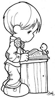 Studying - Precious Moments coloring pages.