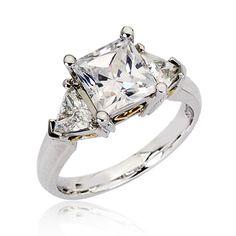 Certified GIA Diamond Wedding Ring 3-Stone Radiant Cut 18k White Gold 1.24 Carat #GoelTalaDiamondsInc #ThreeStone