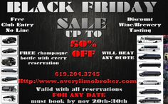Black Friday limo party bus sedan sales  Go to http://averylimobroker.com Receive a bottle of champagne with every booking for any date